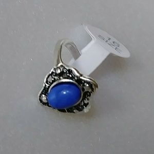 Antique Silver Plated Blue Sandstone Ring Size 6
